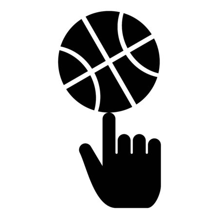 Basketball ball spinning on top of index finger icon black color vector illustration flat style simple image