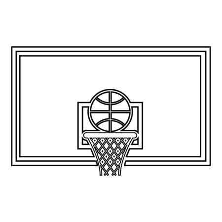 Basketball hoop and ball Backboard and grid basket icon outline black color vector illustration flat style simple image
