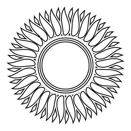 Sunflower flower Sun icon outline black color vector illustration flat style simple image 일러스트