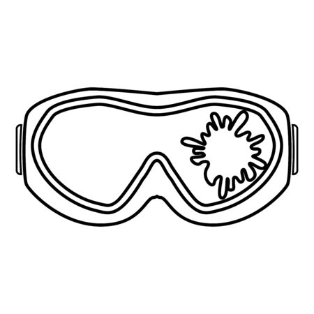 Paintball mask with mark of paint Blot on glass icon outline black color vector illustration flat style simple image