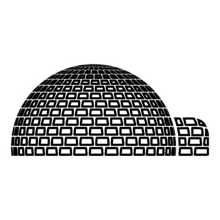 Igloo dwelling with icy cubes blocks Place when live inuits and eskimos Arctic home Dome shape icon outline black color vector illustration flat style simple image