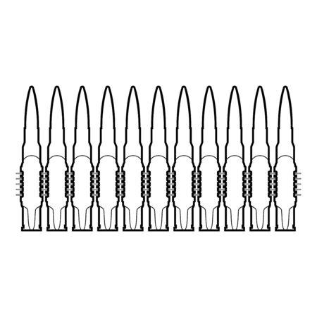 Bullets in row belt Machine gun cartridges Bandoleer War concept icon outline black color vector illustration flat style simple image 일러스트