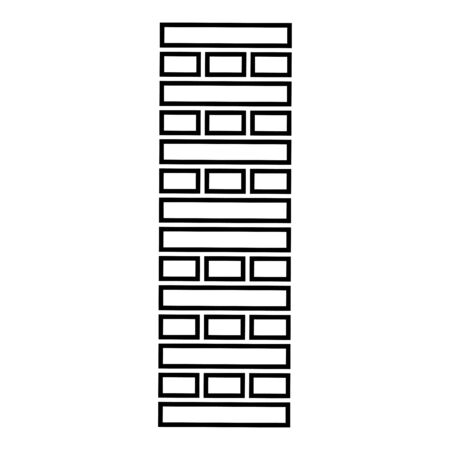Brick Pillar Blocks in stack  game for home adult and kids leisure Board games Wooden block icon outline black color vector illustration flat style simple image