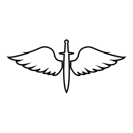 Wings and sword symbol cadets Winged blade weapon medieval age Warrior insignia Blazon bravery concept icon outline black color vector illustration flat style simple image