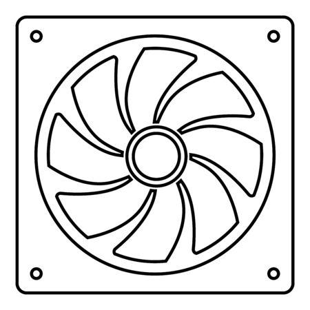 Lüfter für Computer-Prozessor-Kühler CPU-Kühlsystem Ventilator Symbol Umrisse schwarze Farbe Vector Illustration Flat Style simple Image