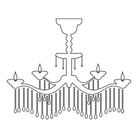 Chandelier icon outline black color vector illustration flat style simple image 일러스트