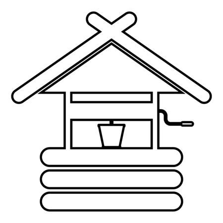 Drinking water well with bucket wooden material icon outline black color vector illustration flat style simple image 일러스트