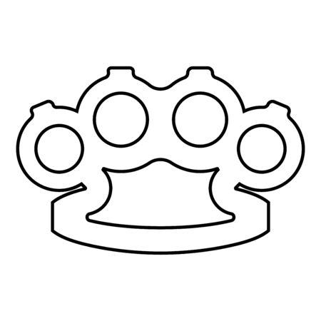 Knuckleduster Knuckles broń do ręki ikona kontur czarny kolor wektor ilustracja płaski prosty obraz