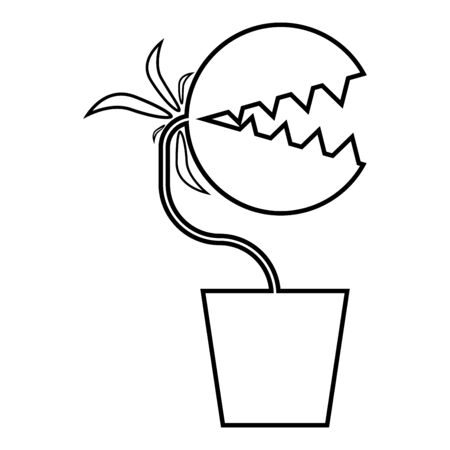 Carnivorous plant Flytrap Monster with teeths in pot icon outline black color vector illustration flat style simple image