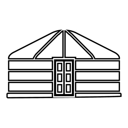 Yurt of nomads Portable frame dwelling with door Mongolian tent covering building icon outline black color vector illustration flat style simple image