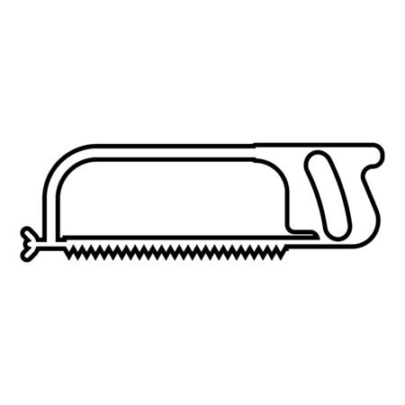 Hacksaw for metal and manual using Hand saw Repair tool icon outline black color vector illustration flat style simple image 일러스트