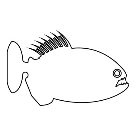 Piranha angry fish icon outline black color vector illustration flat style simple image