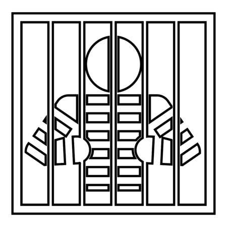 Prisoner behind bars holds rods with his hands Angry man watch through lattice in jail Incarceration concept icon outline black color vector illustration flat style simple image