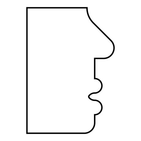 Human face side view head mouth nose lip Male profile Person silhouette icon outline black color vector illustration flat style simple image