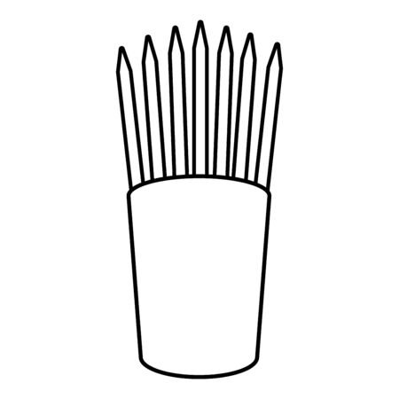 Pencils in glass stands upright office supplier concept Work place icon outline black color vector illustration flat style simple image