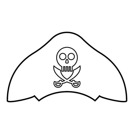 Pirate hat with skull and saber cutlass icon outline black color vector illustration flat style simple image
