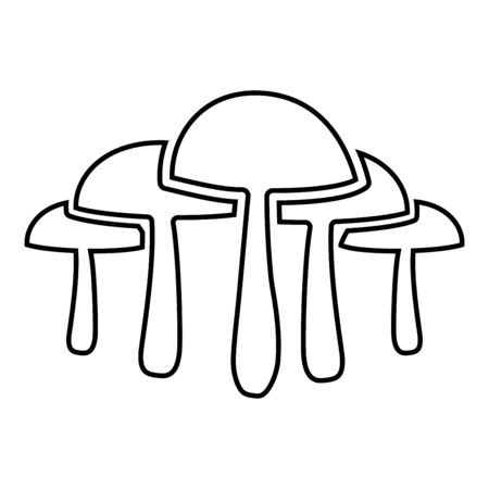 Mushrooms icon outline black color vector illustration flat style simple image 일러스트