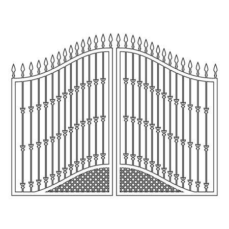 Forged gates icon outline black color vector illustration flat style simple image 일러스트