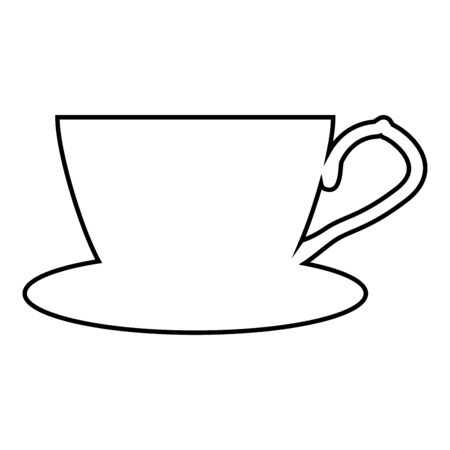 Tea cup with saucer icon outline black color vector illustration flat style simple image