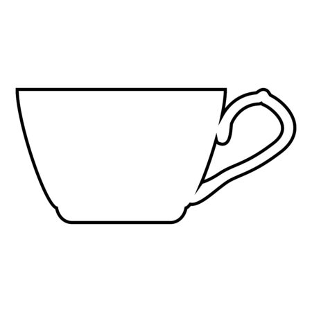 Tea cup icon outline black color vector illustration flat style simple image