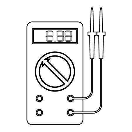 Digitales Multimeter zum Messen elektrischer Indikatoren AC-DC-Spannung Ampere Ohmmeter Leistung mit Sonden Symbol Umrisse schwarze Farbe Vektor-Illustration flacher Stil einfaches Bild