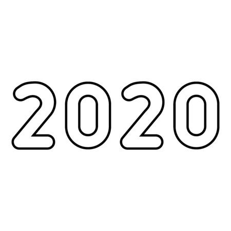 2020 text symbols New Year letters icon outline black color vector illustration flat style simple image 일러스트