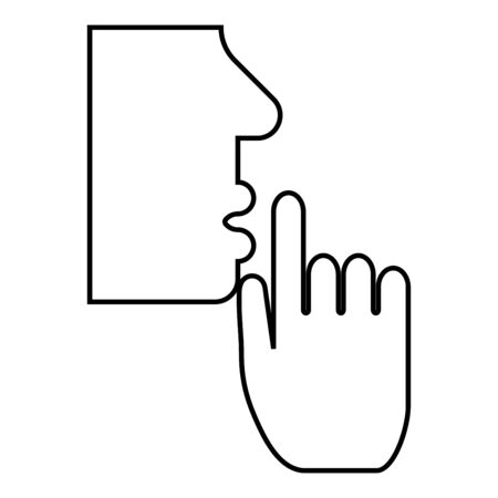 Keep silence concept Man shows index finger quietly Person closed his mouth Shut his lip Shh gesture Stop talk please theme Mute icon outline black color vector illustration flat style simple image