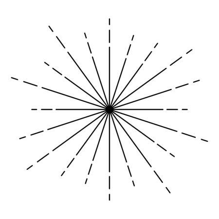 Rayons de feux d'artifice Sunburst Rayons radiaux Lignes de faisceau Sparkle Glaze Flare Starburst lignes de rayonnement concentriques icône contour couleur noire illustration vectorielle style plat image simple Vecteurs