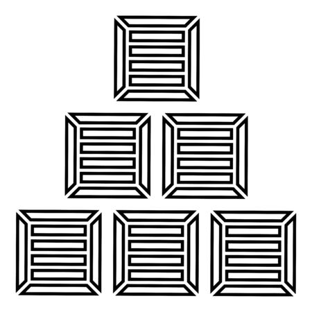 Pyramid crates Wooden boxs Containers icon outline black color vector illustration flat style simple image