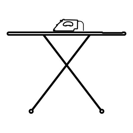 Ironing board with iron icon outline black color vector illustration flat style simple image