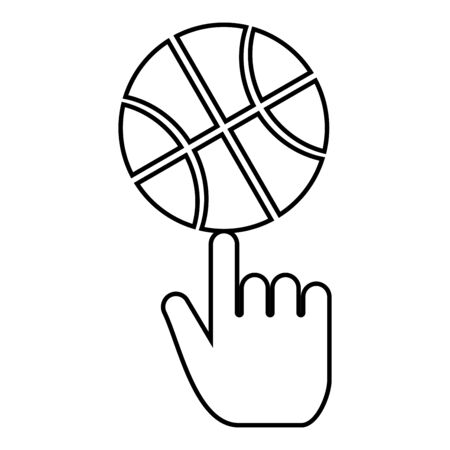Basketball ball spinning on top of index finger icon outline black color vector illustration flat style simple image