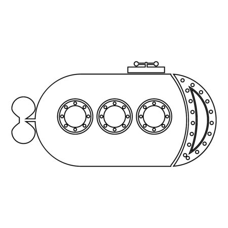 Bathyscaphe Underwater boat ship Submarine icon outline black color vector illustration flat style simple image