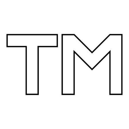 TM letter trademark icon outline black color vector illustration flat style simple image