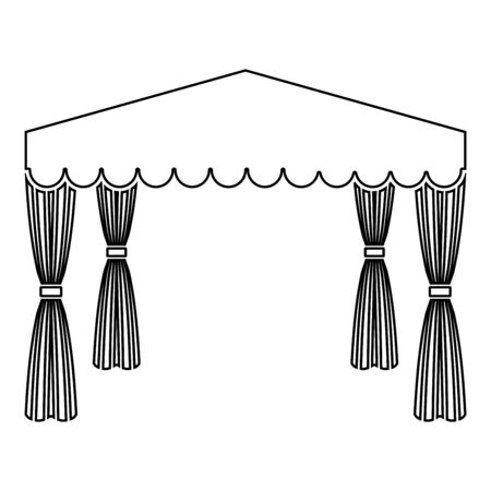Canopy Pop up tent Commercial pavilion Awning for rest Marquee Chuppah icon outline black color vector illustration flat style simple image 向量圖像
