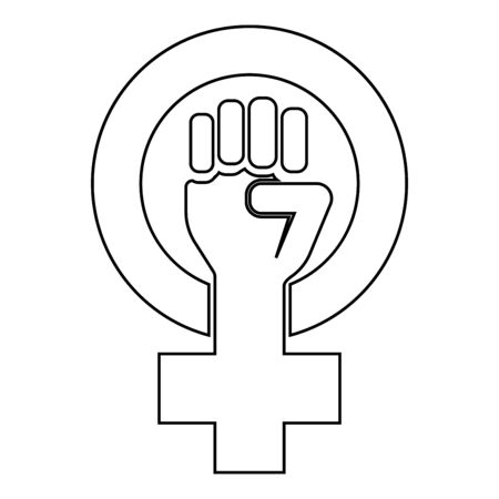 Symbol of feminism movement Gender women resist Fist hand in round and cross icon outline black color vector illustration flat style simple image