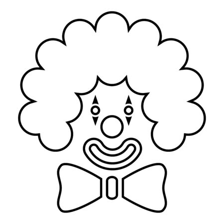 Clown face head with big bow and curly hair Circus carnival funny invite concept icon outline black color vector illustration flat style simple image