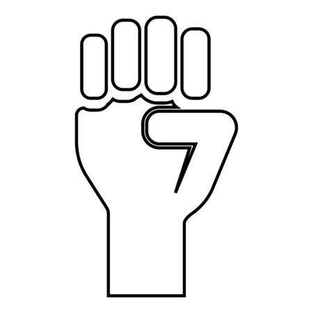 Fist up Concept of freedom fight revolution power protest icon outline black color vector illustration flat style simple image 일러스트