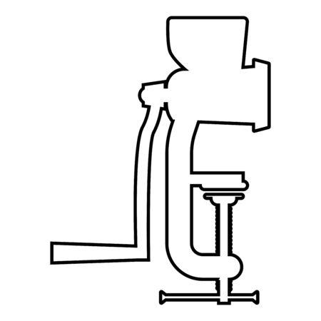 Manual mincer Meat grinder Vintage kitchen equipment Mill Shredder icon outline black color vector illustration flat style simple image 일러스트