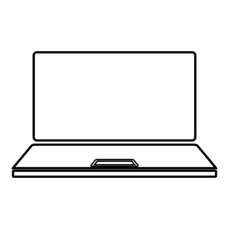Laptop icon outline black color vector illustration flat style simple image