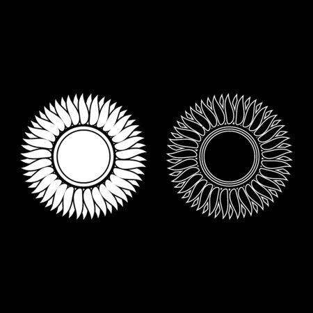 Sunflower flower Sun icon outline set white color vector illustration flat style simple image