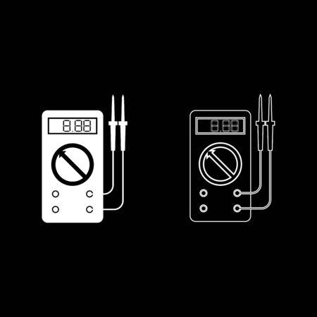 Multimètre numérique pour mesurer les indicateurs électriques AC DC tension ampérage ohmmètre puissance avec sondes icon set contour couleur blanche illustration vectorielle style plat image simple