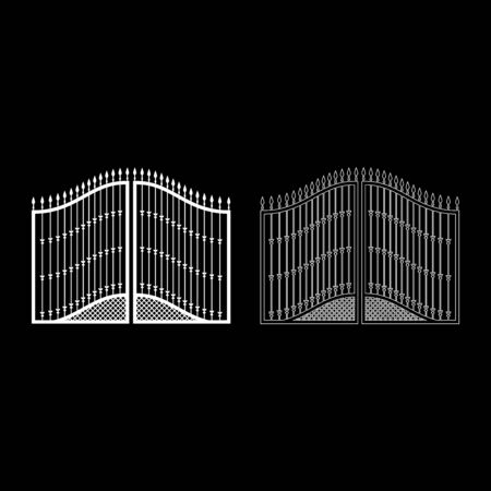 Forged gates icon outline set white color vector illustration flat style simple image Ilustracja