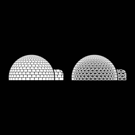 Igloo dwelling with icy cubes blocks Place when live inuits and eskimos Arctic home Dome shape icon outline set white color vector illustration flat style simple image