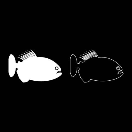 Piranha angry fish icon outline set white color vector illustration flat style simple image