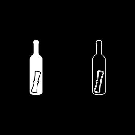 Bottle with letter Message concept Folded scroll document in old container icon outline set white color vector illustration flat style simple image