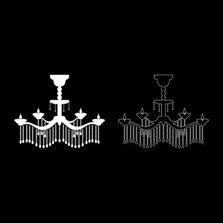 Chandelier icon outline set white color vector illustration flat style simple image