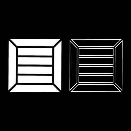 Crate for cargo transportation Wooden box ?ontainer icon outline set white color vector illustration flat style simple image Illusztráció