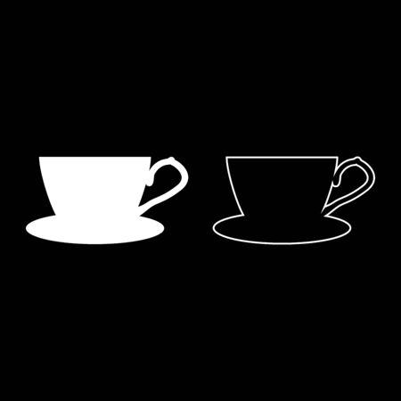 Tea cup with saucer icon outline set white color vector illustration flat style simple image Illusztráció