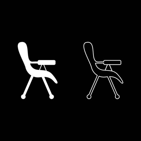 Feeding chair icon outline set white color vector illustration flat style simple image