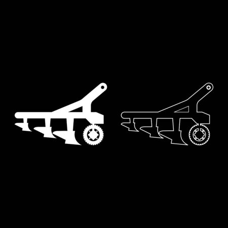 Plow for cultivating land before sowing farm products Tractor machanism equipment Industrial device icon outline set white color vector illustration flat style simple image